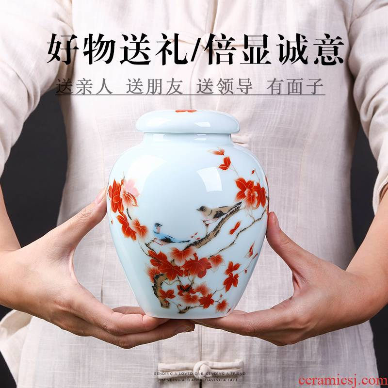 Loading of jingdezhen ceramic portable small POTS sealed jar puer tea caddy fixings home half jins to save POTS