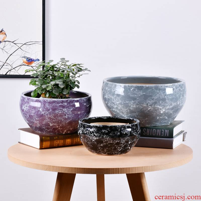 Large diameter ceramic flower pot basin of extra Large sitting room money plant trees wholesale contracted color air mail flowerpot pack