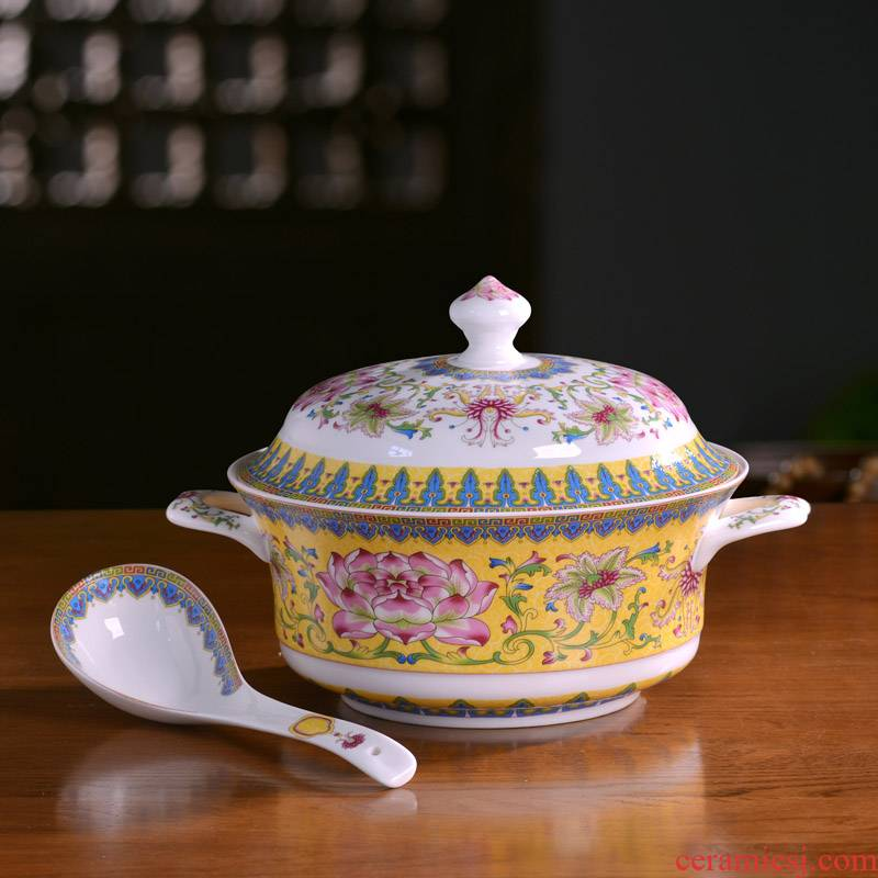 Jingdezhen ceramic tableware domestic large soup bowl ears with cover palace soup basin anti hot pot with a silver spoon in its ehrs expressions using pot