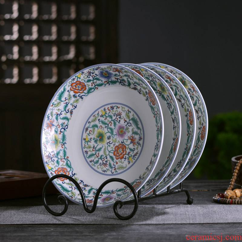 Jingdezhen ceramics deep shallow rice dish dish of Chinese style household dish plate plate antique ipads plate slag tableware fruit bowl