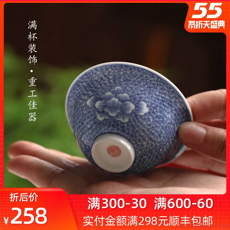 Bright product jingdezhen blue and white porcelain cups from the single ceramic tea set pure manual master cup sample tea cup bowl