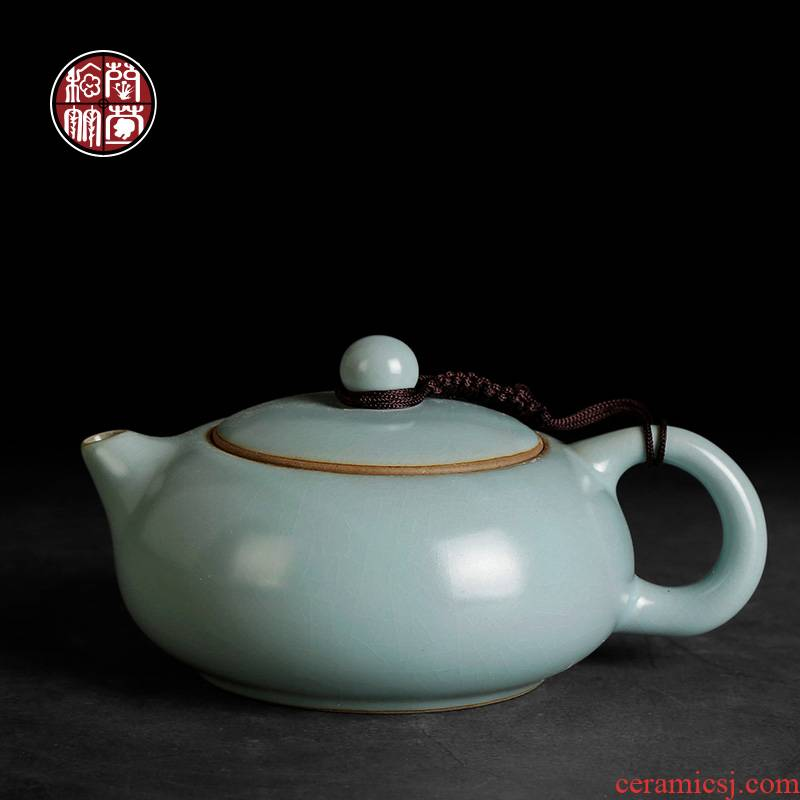 By patterns your up bian xi shi tea pot of Chinese ceramic cyan single pot of ice to crack the teapot version of a single day
