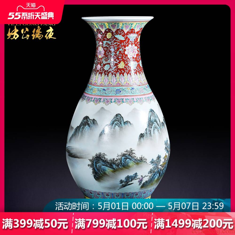Jingdezhen ceramics new color landscape okho spring bottle of Chinese style household furnishing articles archaize sitting room desktop decoration
