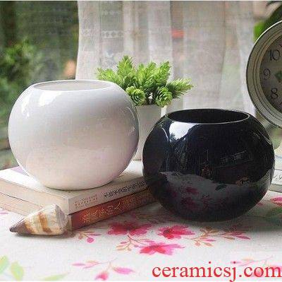 European belly pure color flower pot contracted white ceramic pot fleshy the plants grow more than black and white mini