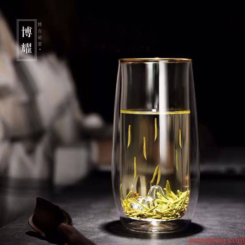 Bo yao big snow mountain cups of green tea a cup of hot tea cup double deck glass cup master cup cup