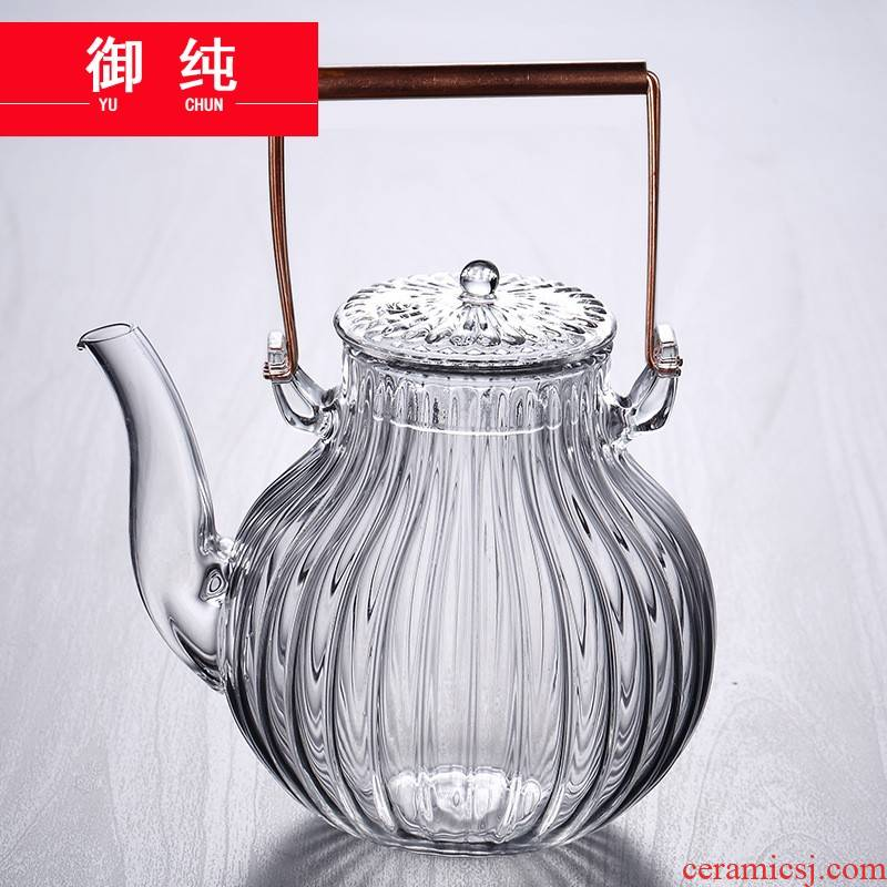 Royal restoring ancient ways of pure copper kettle temperature the glass pot girder camellia tea pot of pure manual by petal stripe to boil