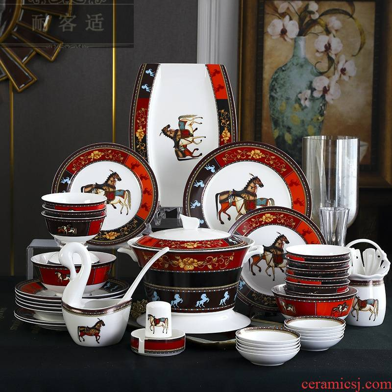 Guest comfortable resistant ceramic bowls of rice bowl ipads plates jingdezhen ceramic tableware household wedding gift set manufacturers