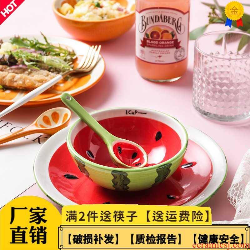 Creative hand - made ceramic tableware express cartoon cup sweet watermelon fruit bowl dishes suit household salad bowl
