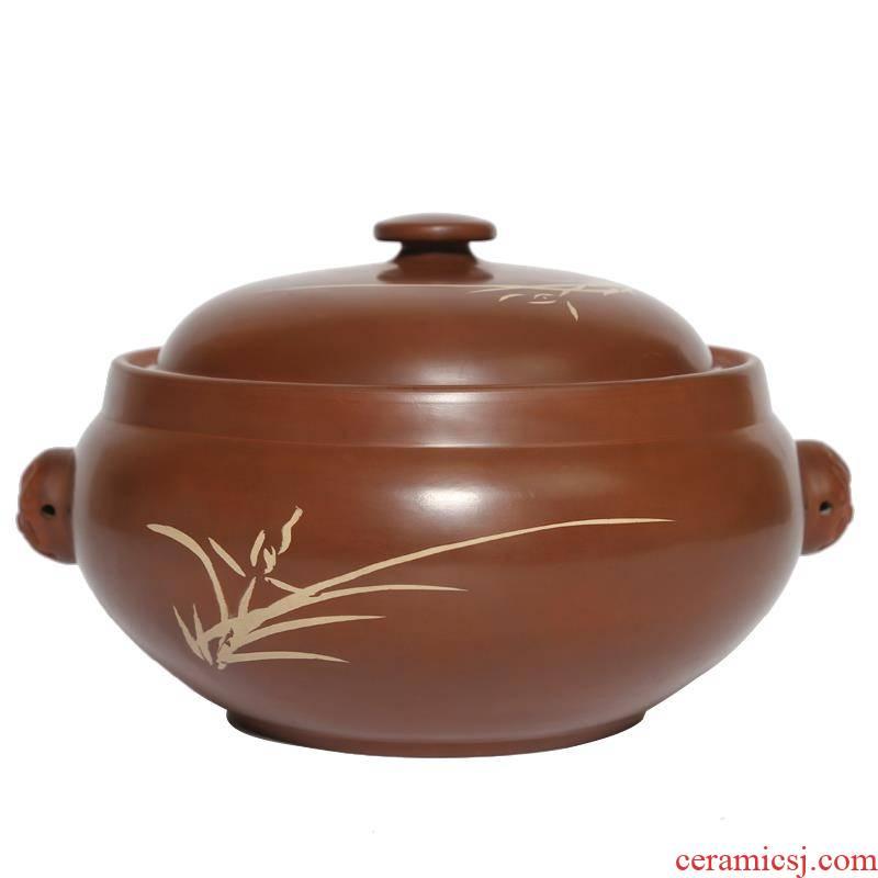Hui shi purple ceramic steamer steam pot chicken built water purple pottery yunnan economic chicken steam kettle household earthenware pot simmering
