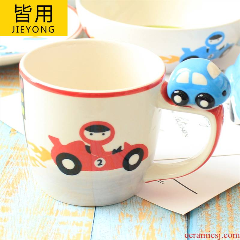 All the children as ceramic tableware car glass mugs bowl dishes suit children gifts