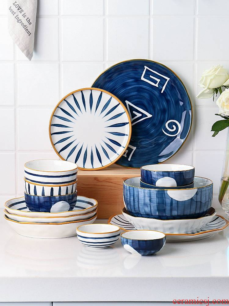 Sichuan island house green grain creativity network red sun cutlery set bowl dish bowl of soup bowl chopsticks dishes suit household move
