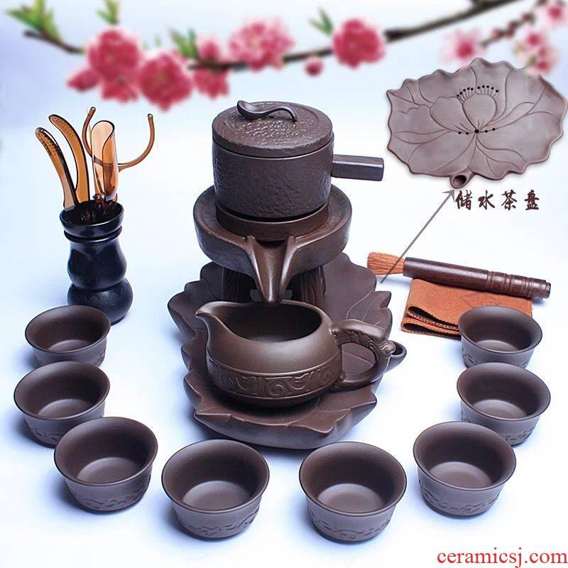 Violet arenaceous stone mill semiautomatic kung fu tea set ceramic household lazy hot creative tea; Preventer teapot teacup