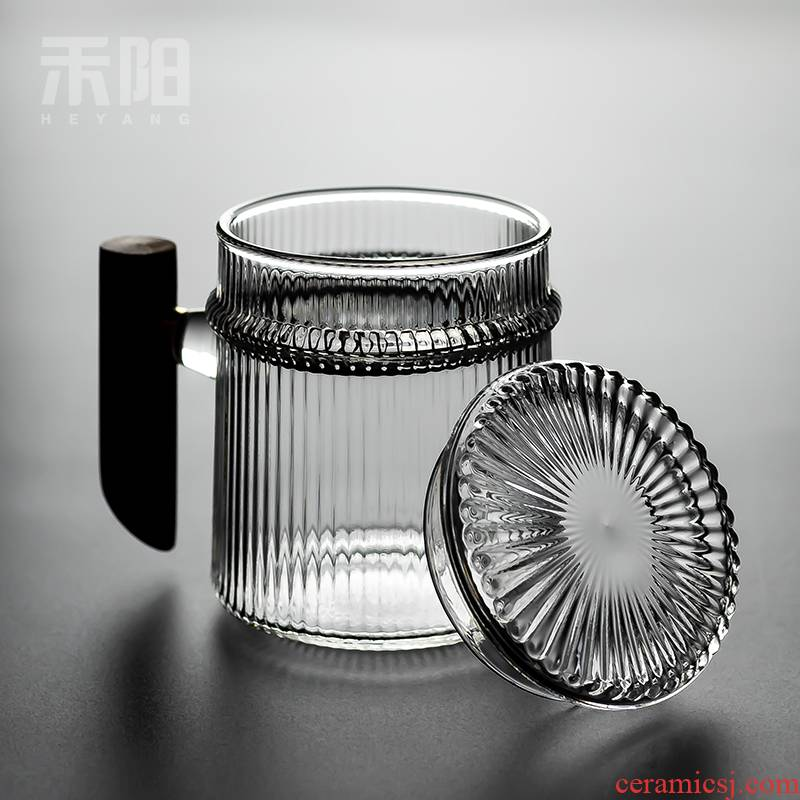 Hetian YangMu filtration, high - temperature transparent glass tea cup home tea separation take the flower tea cups