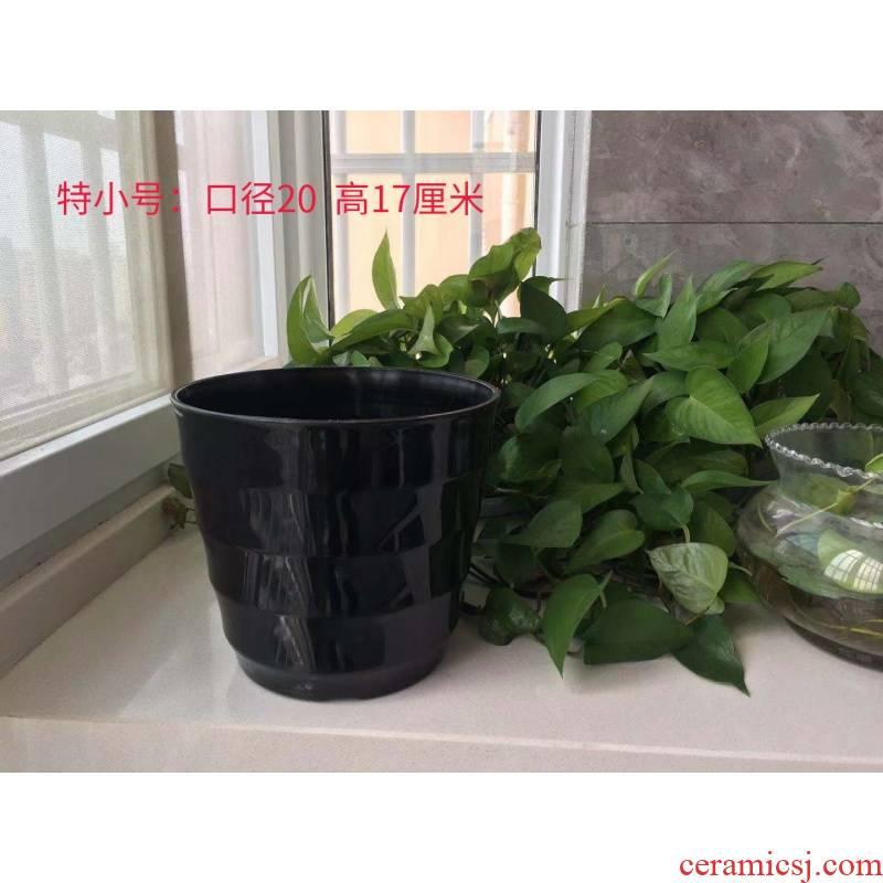Super big flowerpot thickening heightening black white plastic flower POTS imitation ceramic round thread resin flower pot pot