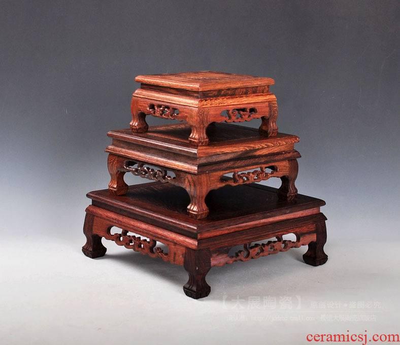 Make solid wood carved base square base a stone base study penjing vase base
