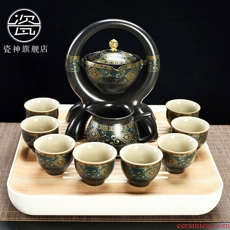 Household porcelain god kung fu tea set lazy people against the hot new type automatic office tea teapot teacup restoring ancient ways