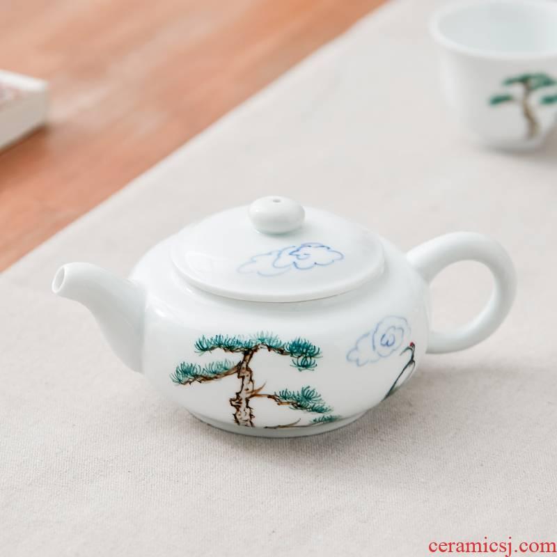 Qiu time white porcelain hand - made kung fu tea set household contracted teapot tea to modern ceramic teapot tea