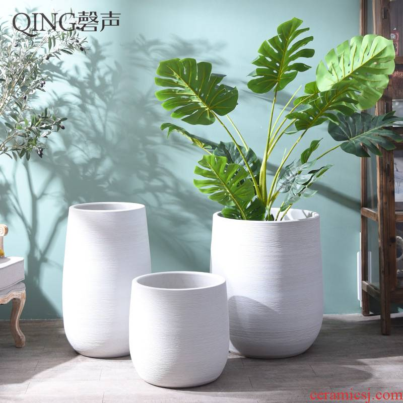 Nordic ins ceramic vases, large ceramic cylinder, I and contracted wind pure color white flower arranging the sitting room adornment furnishing articles