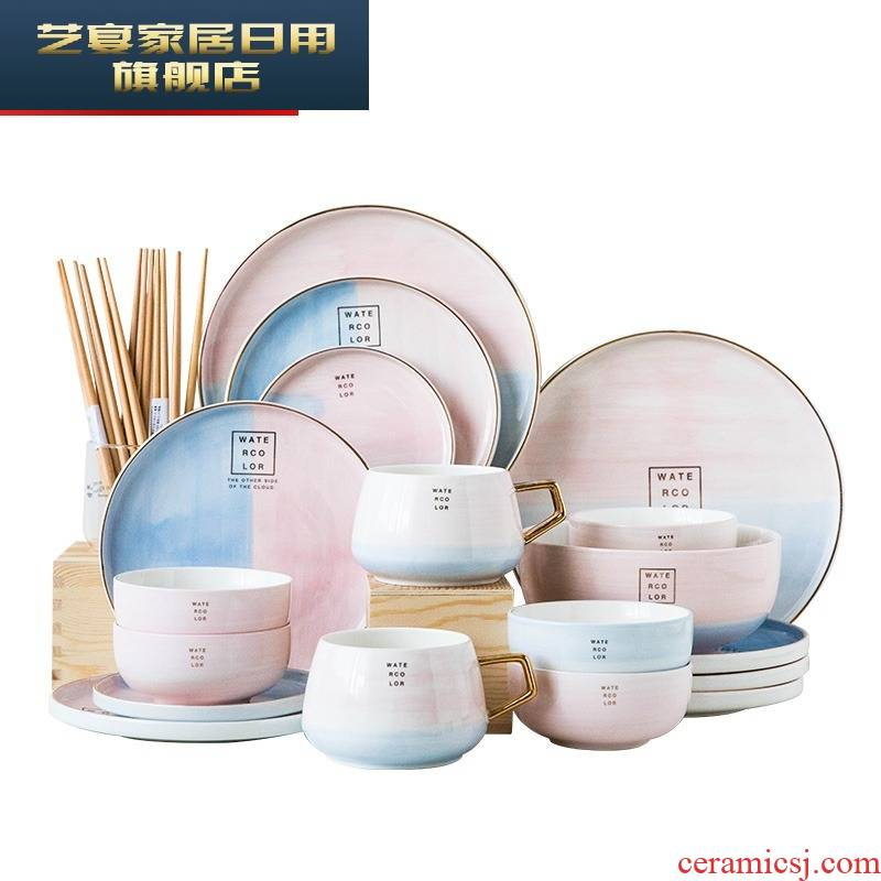 The dishes suit household Chinese network red ins dish bowl good - & tableware sweethearts bowl chopsticks to eat by by 2/4/6 dishes