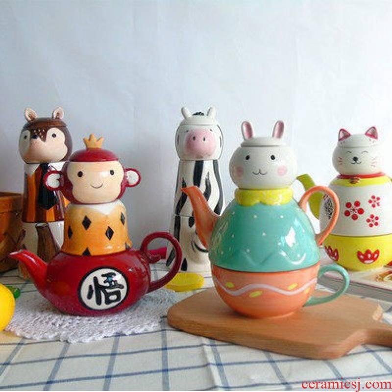 Package mail jingdezhen express cartoon animals hand - made under glaze color porcelain tea teapot teacup gifts sets
