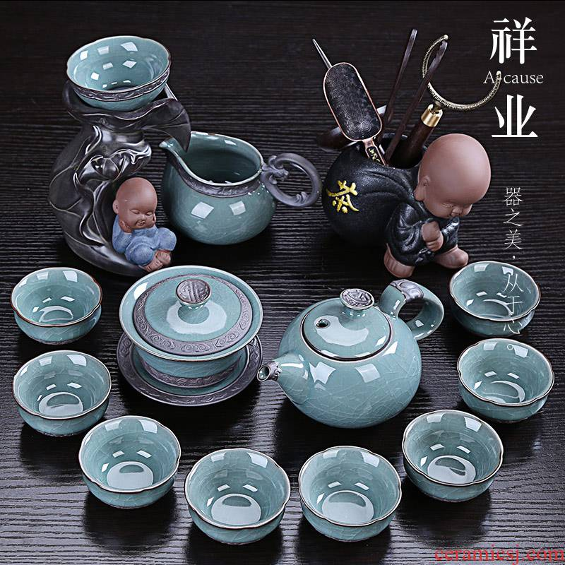 Open the slice auspicious industry kung fu tea set ceramic gift boxes visitor office tea sets tea tea elder brother up with household