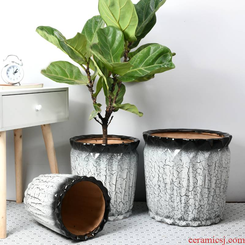 Nordic extra large wholesale ceramic flower pot contracted large caliber sitting room courtyard planting potted big flowerpot pack mail