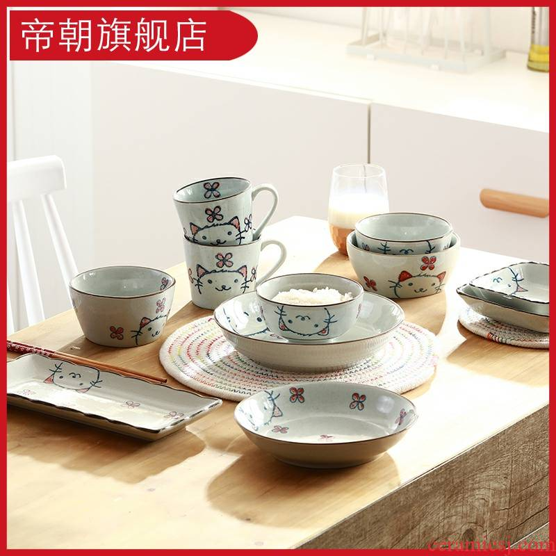 Lovely meng is a cat ceramic tableware wedding gift dishes suit household chopsticks cartoon Korean Japanese dishes