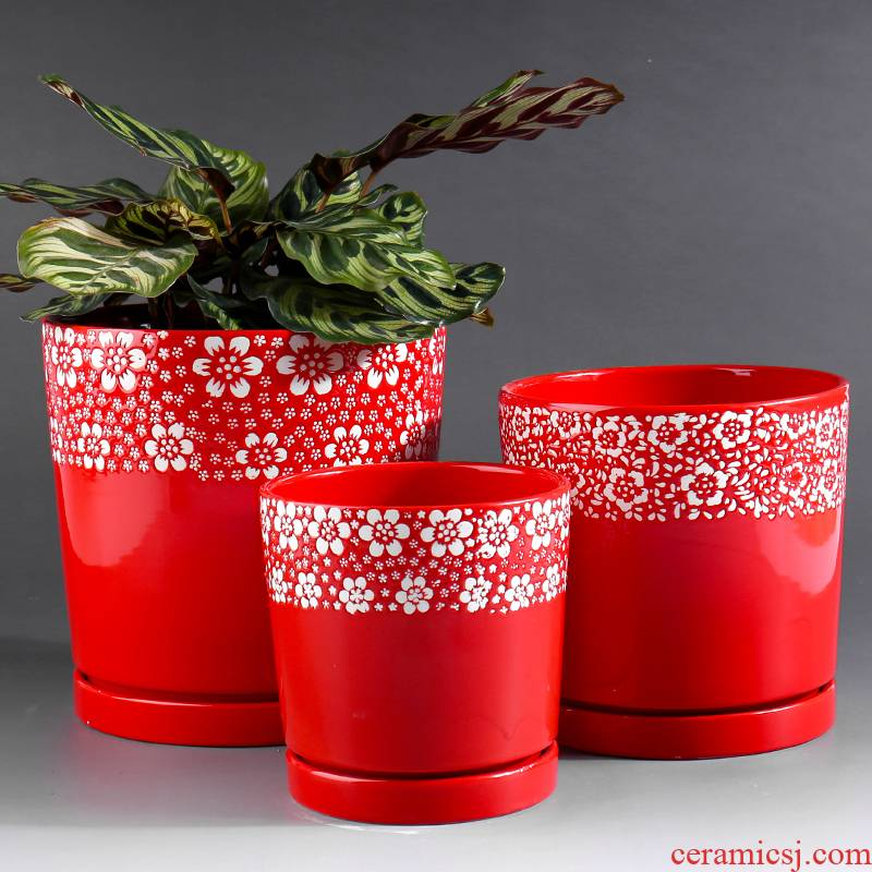 Extra large red ceramic flower pot with tray was contracted indoor desktop household more than other meat flowerpot ceramic clearance