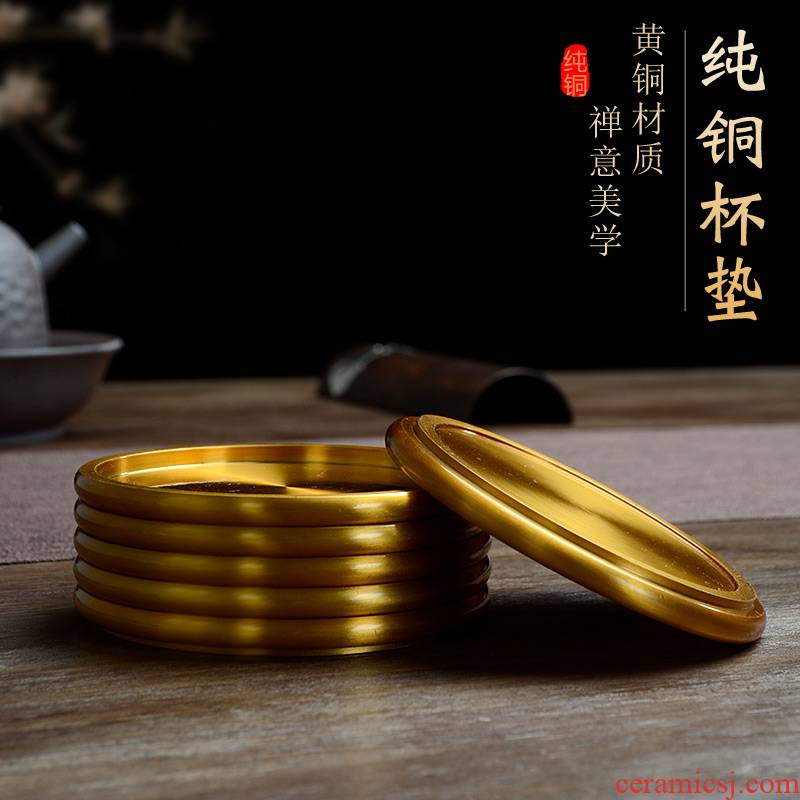 Morning high thickening coasters Chinese style household copper shim insulation pad tea cups kung fu tea set with parts books
