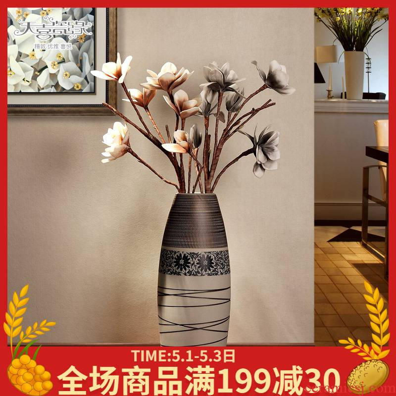 Jingdezhen ceramic lucky bamboo vase of large modern European new home sitting room TV ark, home decoration furnishing articles