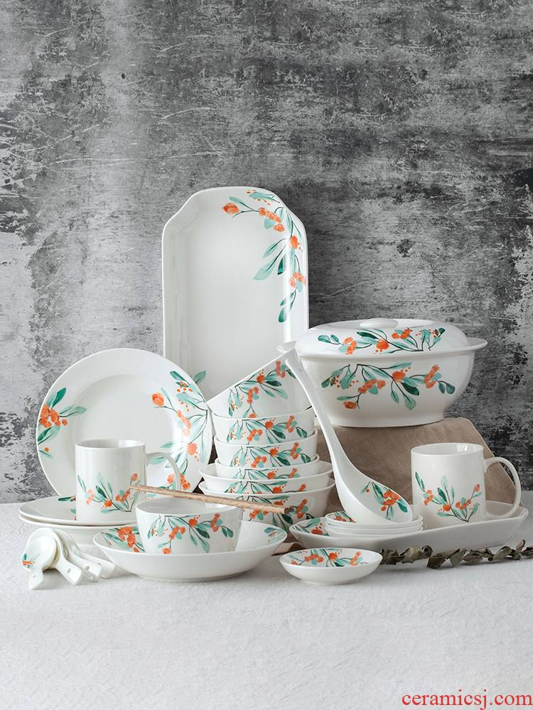 Japanese dishes suit household bowl dish dish ceramic disc contracted dishes chopsticks tableware individuality creative combination