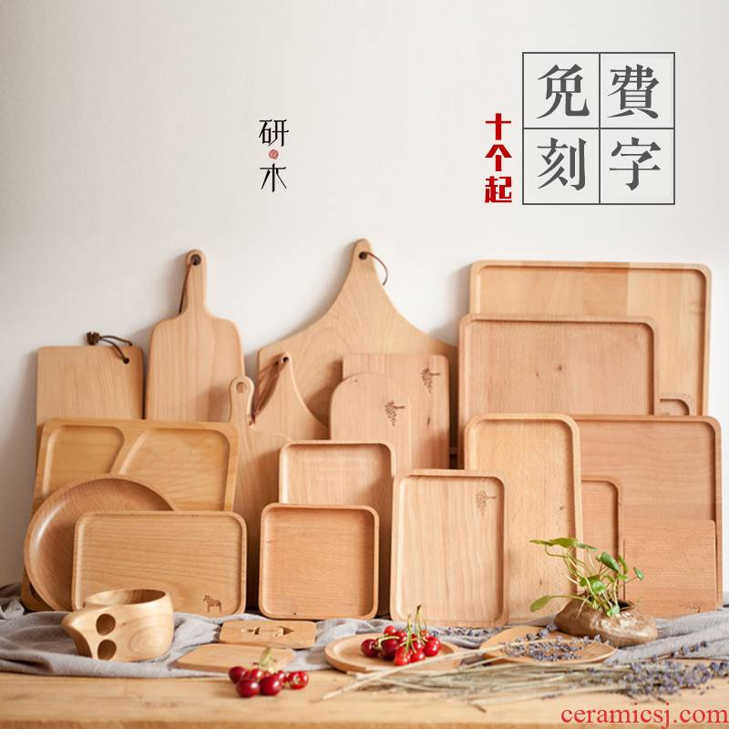 Japanese household wooden pallet, rectangular wood creative tea tray wooden plate plate plate glass fruit bowl cake plate