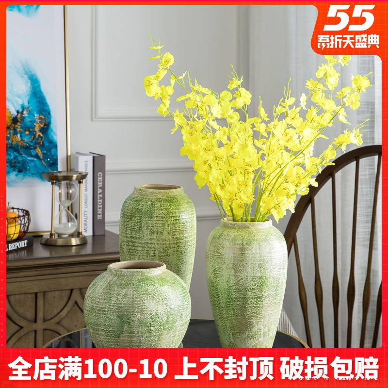 American green clay flower implement large ceramic vase dried flowers, household furnishing articles ceramic table sitting room decorative vase