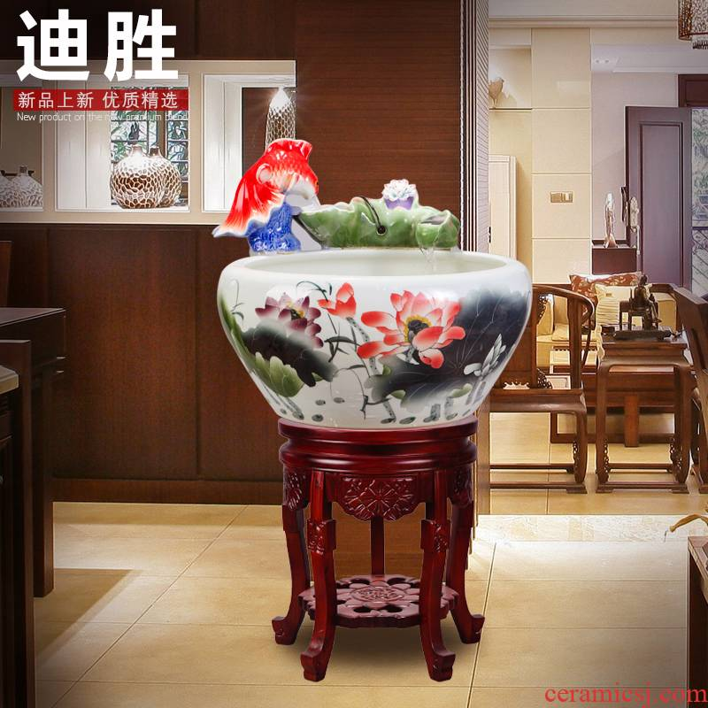 Jingdezhen TaoYang water lily porcelain basin water furnishing articles furnishing articles of handicraft feng shui turtle cylinder tank water is shallow