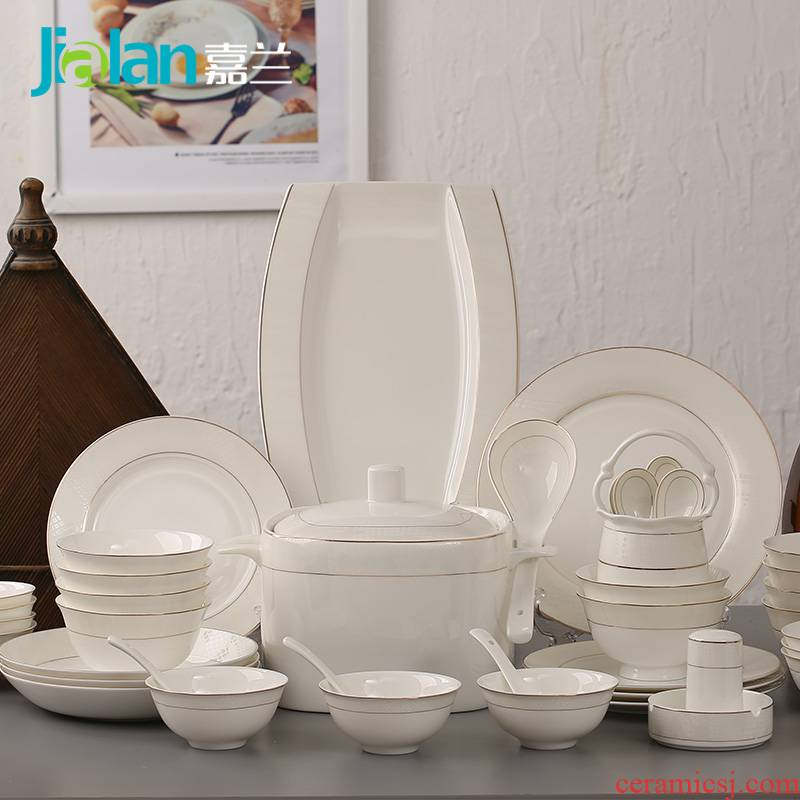 Garland 56 head Aegean ipads porcelain tableware up phnom penh key-2 luxury Japanese ceramics dishes plate of creative gift set