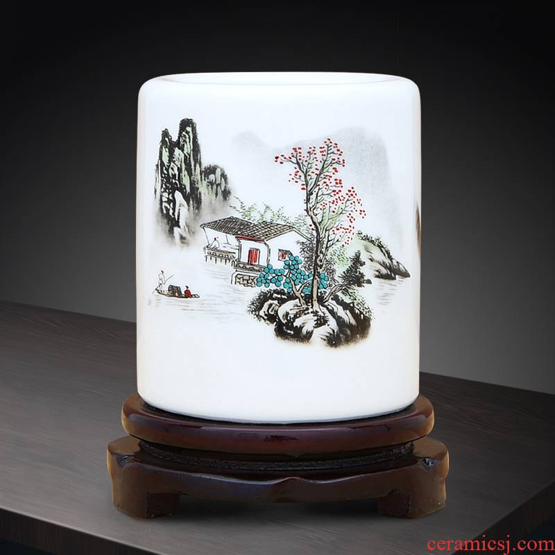 Jingdezhen ceramics clearance Chinese wind powder wariety pen container sitting room place home wine cabinet decoration decoration arts and crafts