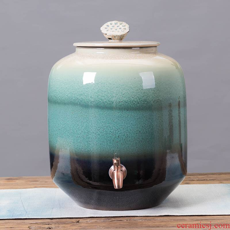 Jingdezhen ceramic wine special jars with variable sealing with tap water tanks 50 kg wine jar