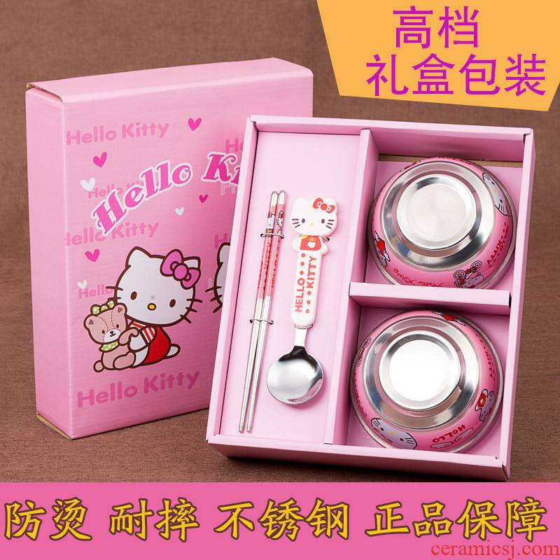 Bo view of stainless steel, the 2-3-4-5-6 chopsticks treasure children children express yourself eating utensils drop shirble card