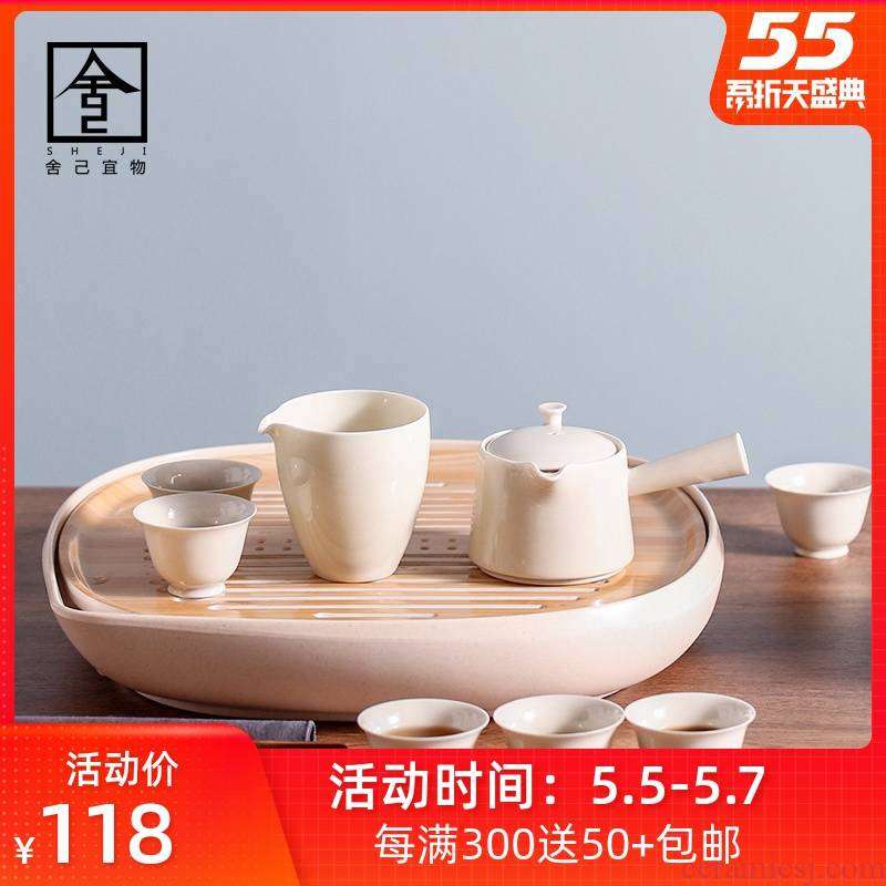 "The Self - ""appropriate content kung fu tea set suit household kunfu tea tea of a complete set of ceramic teapot tea tray storage contracted"