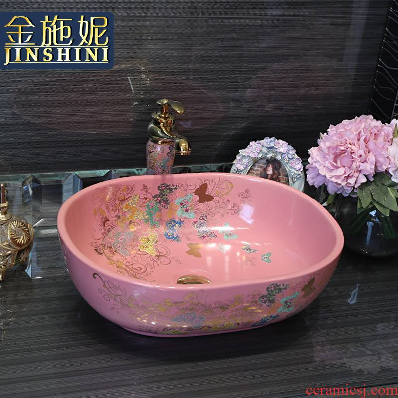 Gold cellnique ceramic lavatory fashion art basin bathroom toilet pink stage basin sink household