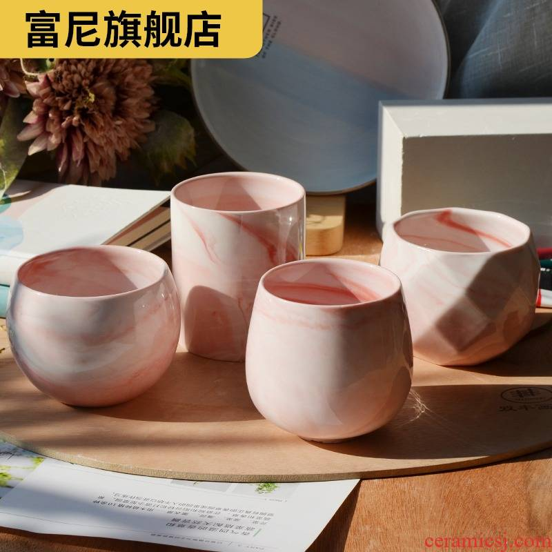 Rich, basin express it in pink floret marble fleshy move flowerpot grain white porcelain meat meat contracted ceramic plant