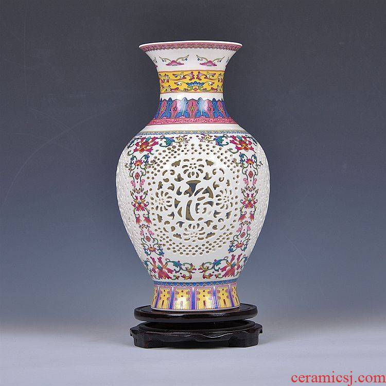 Furnishing articles fashion scene, jingdezhen ceramic vase hollow out blue and white porcelain porcelain vase, home Furnishing articles arts and crafts