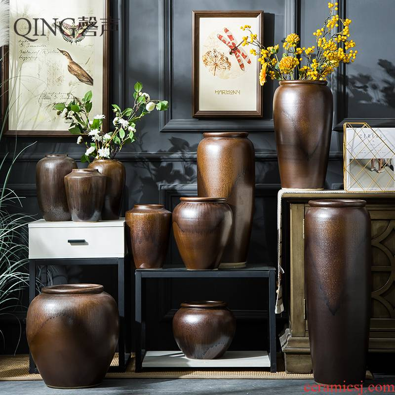 Ceramic vase furnishing articles sitting room TV cabinet decoration to the hotel Chinese style restoring ancient ways is dried flower arranging flowers POTS of large porcelain