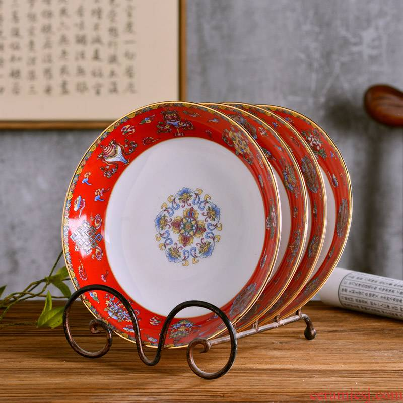 Jingdezhen ceramics deep dish dish dish Chinese style household ipads porcelain tableware antique plate