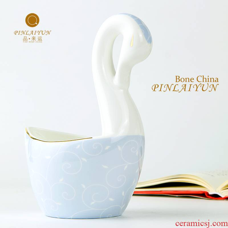 The goods to transport 】 【 tea matching costumes coffee spoon, swan.