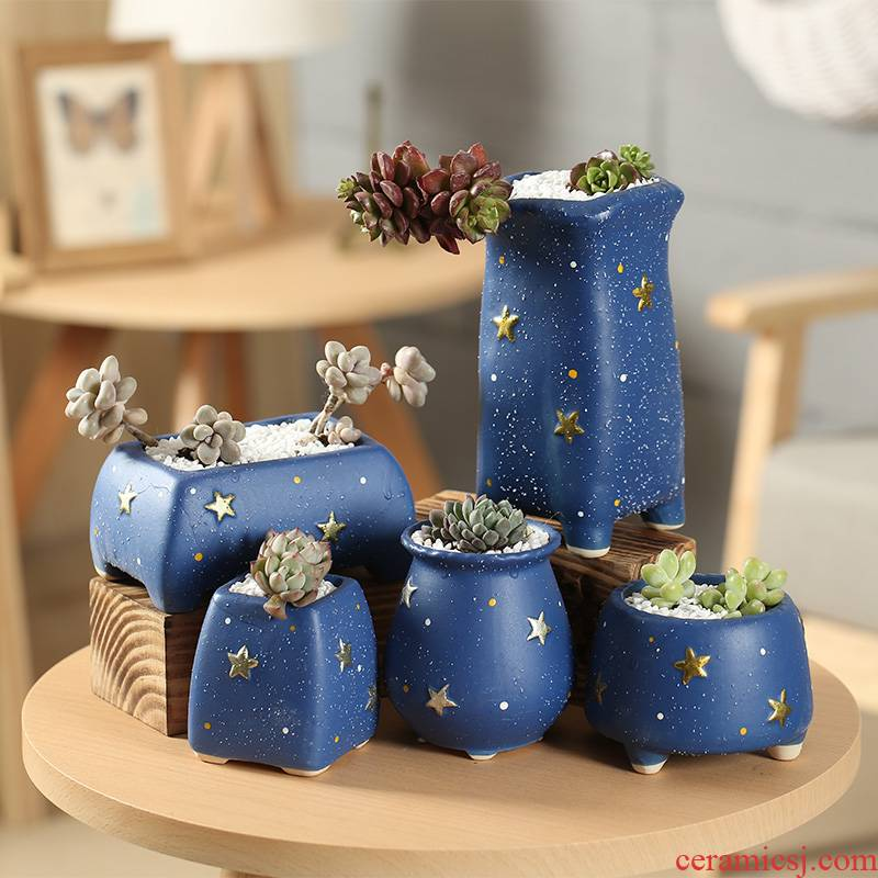 End of stars is kind of coarse pottery breathable interior restoring ancient ways more meat flower - pot special package mail clearance creative move
