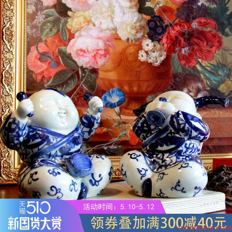 The rain tong home | jingdezhen ceramics craft its - happy happy baby blue and white porcelain furnishing articles