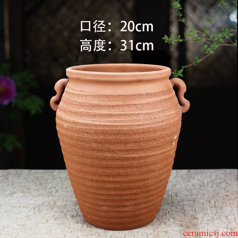 Extra large caliber breathable red mud POTS without glaze thick black pottery clay pot clay flowerpots contracted biscuit firing small garden
