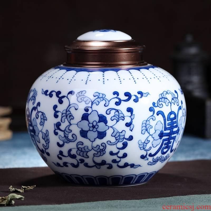 Jingdezhen hand made blue and white porcelain tea pot pu 'er wake receives manual cylinder seal tea to wake receives POTS