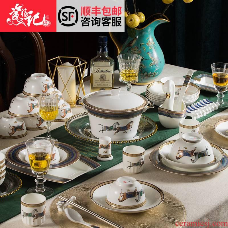 High - grade ipads China jingdezhen ceramic tableware club villa bowls disc suit European household business gift box